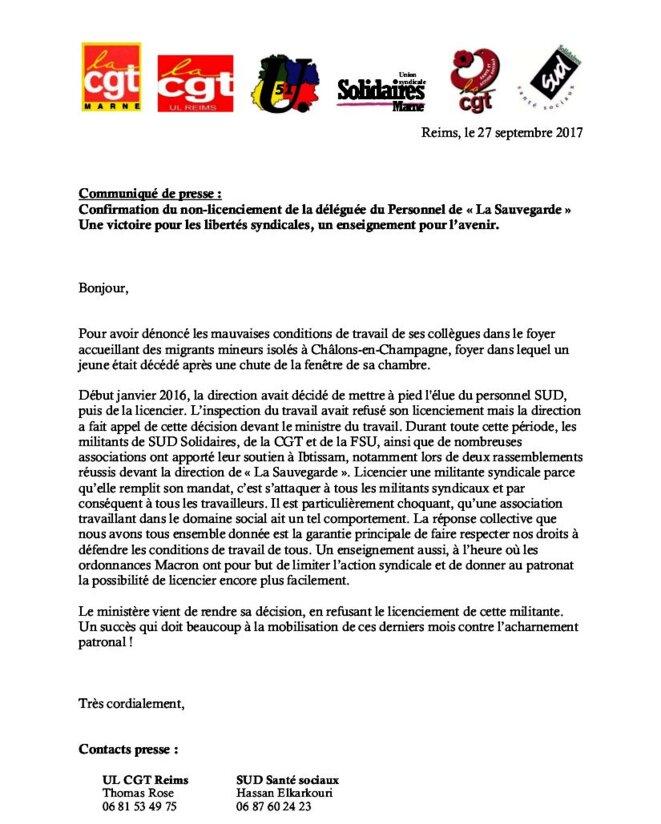 17-09-27-communique-licenciement-sauvegarde