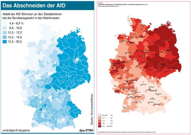 GAUCHE vote AfD ; DROITE bénéficiaires HARTZ-IV © DPA ; FES