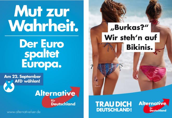 """GAUCHE, affiche de l'AfD en 2013: le courage de la vérité, l'Euro fissure l'Europe ; DROITE, affiche en 2017: """"Burka? Nous préférons les bikinis."""" ; Ose l'Allemagne! © AfD"""