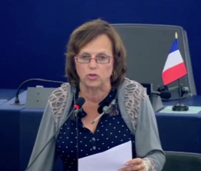 La députée européenne (FN) Dominique Bilde. © Vidéo du Parlement européen.