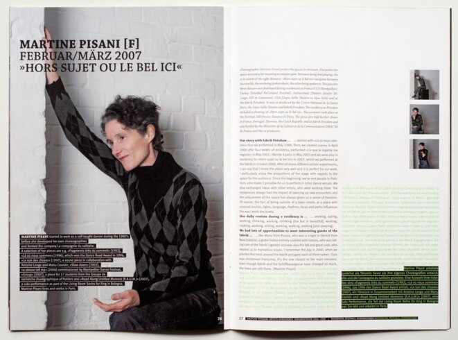 Martine Pisani dans le Magazine fabrik Potsdam (2009) - Documentation du programme Artist-In-Residence fabrik Potsdam © Maquette: HELLOGRAPH - Photos: Jan Stradtmann