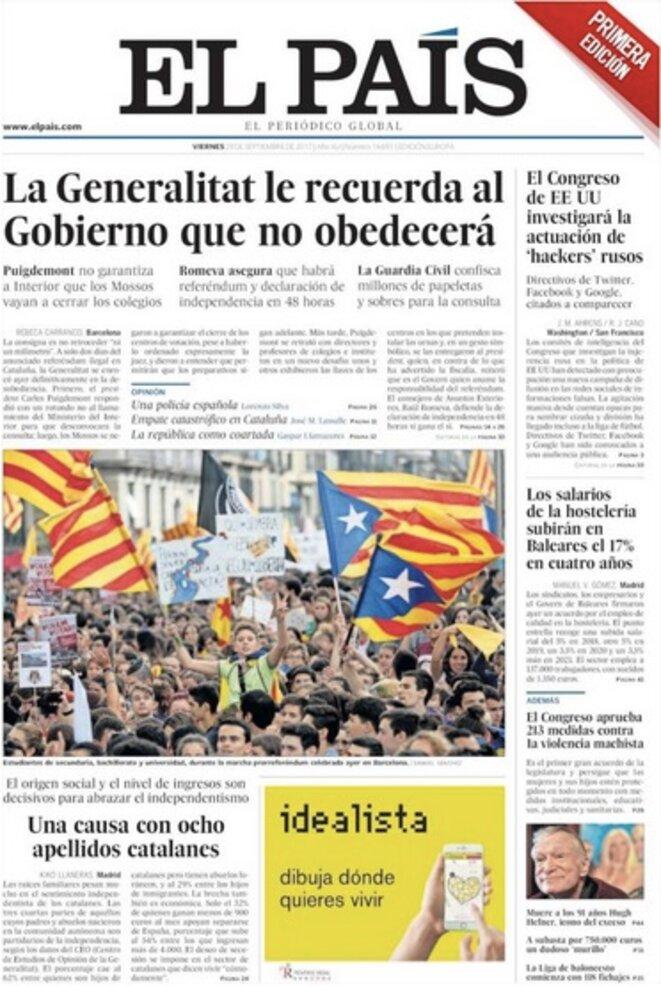 """""""El Pais"""" vendredi : """"La Generalitat rappelle au gouvernement qu'elle n'obéira pas"""""""