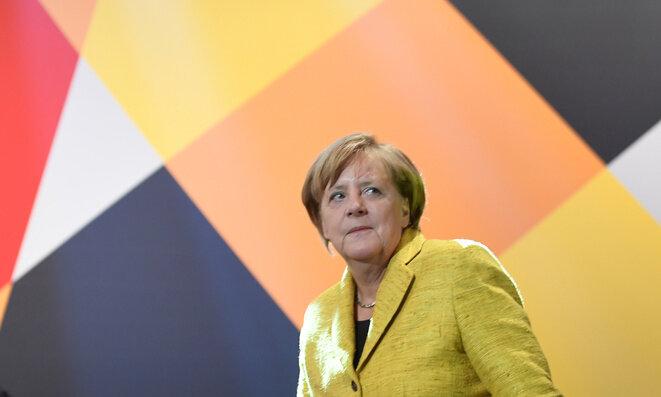 Angela Merkel en campaña durante las elecciones regionales de Basse-Saxe, el 27 de septiembre. © Reuters
