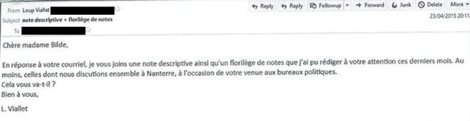 Le 23 avril 2015, Loup Viallet envoie 19 notes d'un coup par mail à sa députée, Dominique Bilde. © Document Mediapart