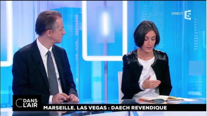 Céline Berthon (syndicat des commissaires de police) et Christophe Barbier... [France 5, capture d'écran YF]
