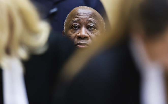 Laurent Gbagbo appearing before the ICC court in The Hague on Febraury 19th 2013. © Michael Kooren/Reuters