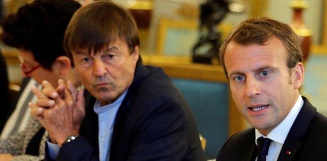 Nicolas Hulot et Emmanuel Macron © Reuters
