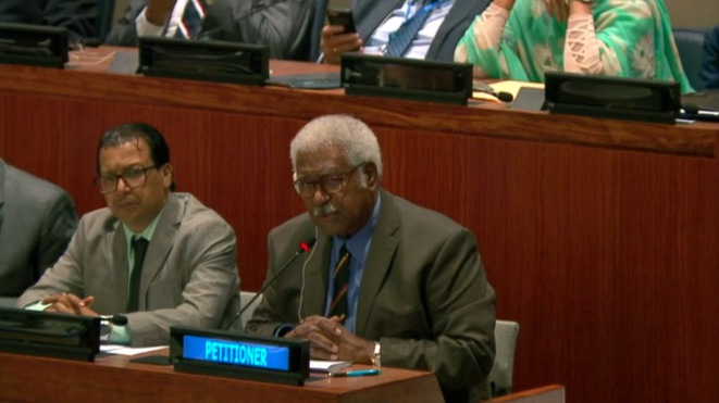 Rock Wamytan, président du groupe UC-FLNKS et nationalistes, le 4 octobre devant la commission de la décolonisation de l'ONU, à New York.