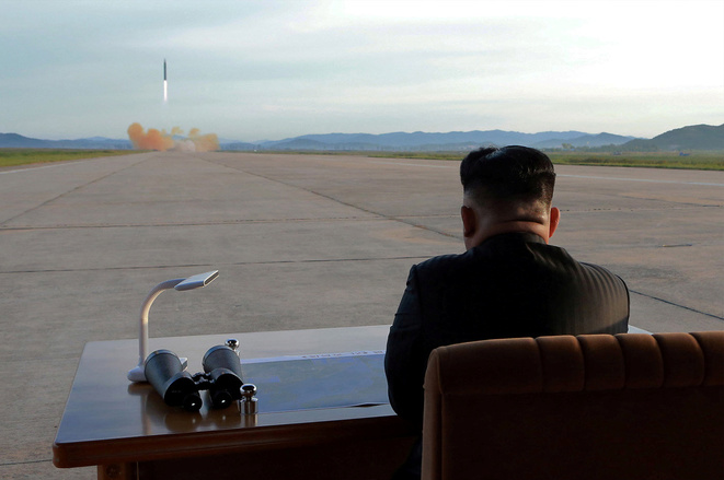 North Korean leader Kim Jong-un watches a missile launch in a photo issued on September 16, 2017, by that country's official news agency. © KCNA
