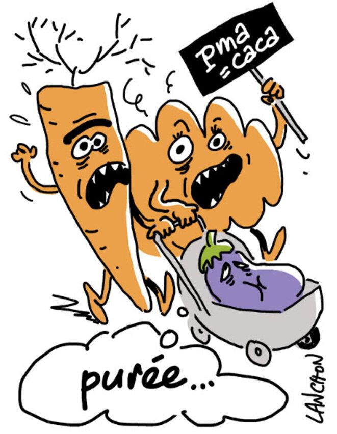 """Légumes : la manif pour oufs (""""purée..."""") © Agnès Lanchon"""