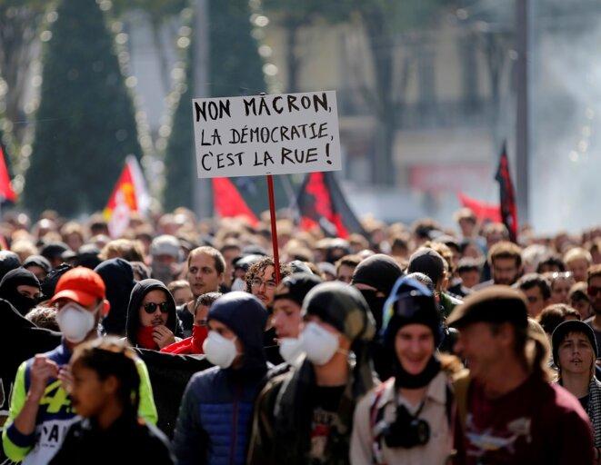 Lors d'une manifestation le 21 septembre © Reuters