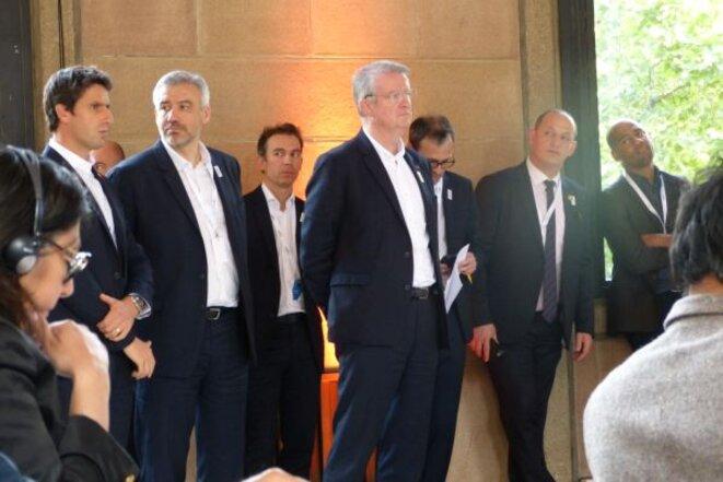 Tony Estanguet, Étienne Thobois et Bernard Lapasset lors de la commission d'évaluation du CIO © aroundtherings.com