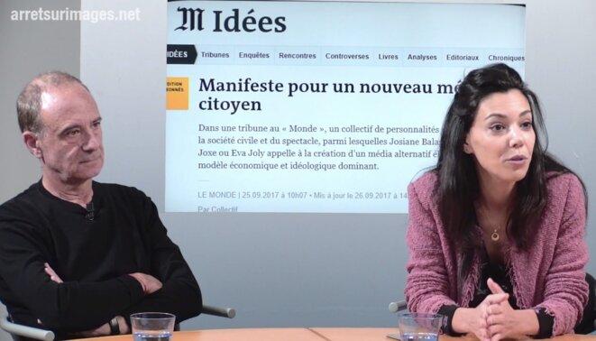 Sophia Chikirou et Gérard Miller, cofondateurs du Média. © Capture d'écran - Arrêt sur images