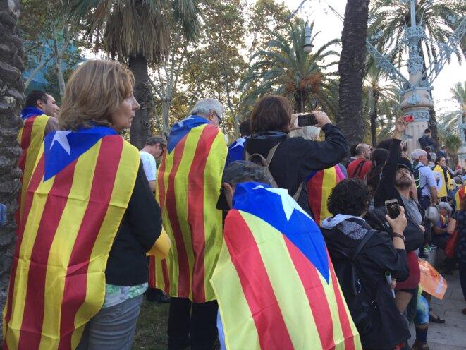 Militants indépendantistes avec l'estelada. © DR