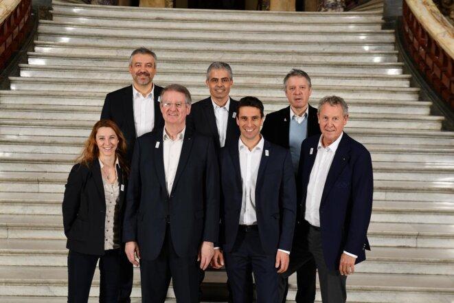 Les responsables de Paris 2024 (Bernard Lapasset et Tony Estanguet au centre) © Paris 2024