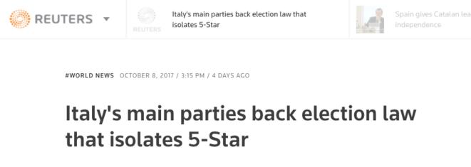 Le seul média francophone qui relate cette information est une dépêche Reuters qui n'a été reprise par aucun média dans l'hexagone