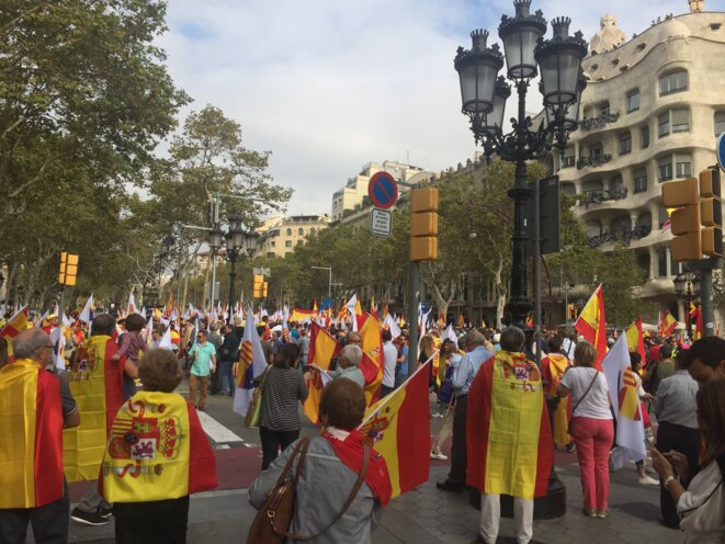 Manifestation du 12 octobre 2017 à Barcelone © DR