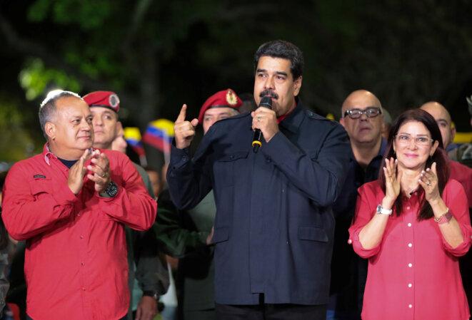 Le président vénézuélien Nicolás Maduro, après l'annonce des résultats, le 15 octobre 2017 à Caracas © Reuters / Palais de Miraflores.