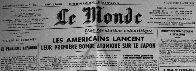 La portada de « Le Monde » del 8 de agosto de 1945.