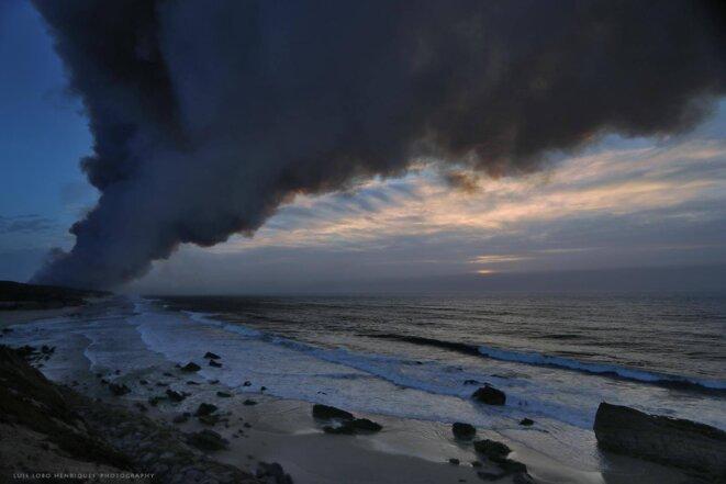 Panache de fumée dégagé par un des incendie au nord du Portugal © Luis Lobo Henriques