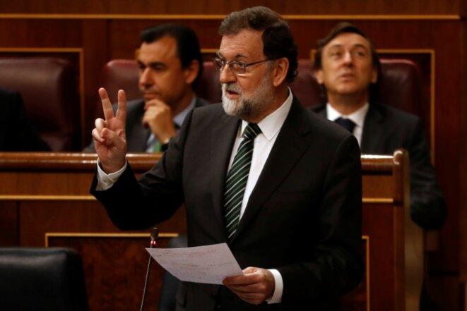 Mariano Rajoy, mercredi 18 octobre devant le Parlement espagnol. © Reuters