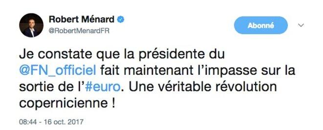 Une « révolution copernicienne » sur l'euro, applaudissait Robert Ménard avant le débat de jeudi soir. © Twitter