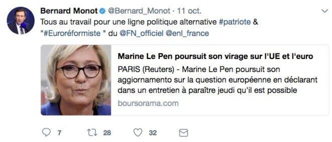 Bernard Monot salue l'« euroréformisme » du FN © Twitter