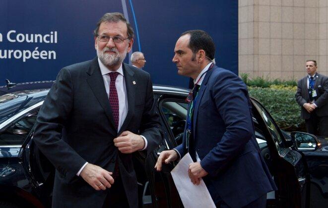 Mariano Rajoy à son arrivée à Bruxelles le 19 octobre 2017 © Conseil européen.