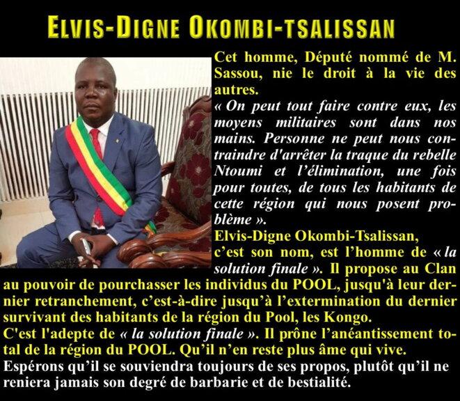 """Elvis-Digne Okombi-Tsalissan réclame, lui-aussi, """"LA SOLUTION FINALE"""". Ce qui confime l'analyse d'Eric Mampouya."""