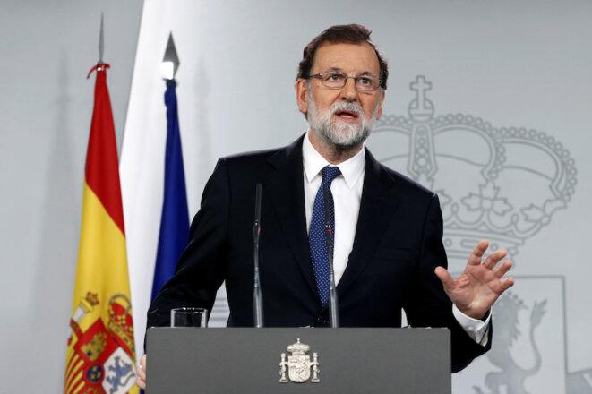 Samedi 21 octobre 2017 : le premier ministre espagnol Mariano Rajoy annonce les mesures liées à l'article 155 qui suspendent l'autonomie de la Catalogne © Reuters