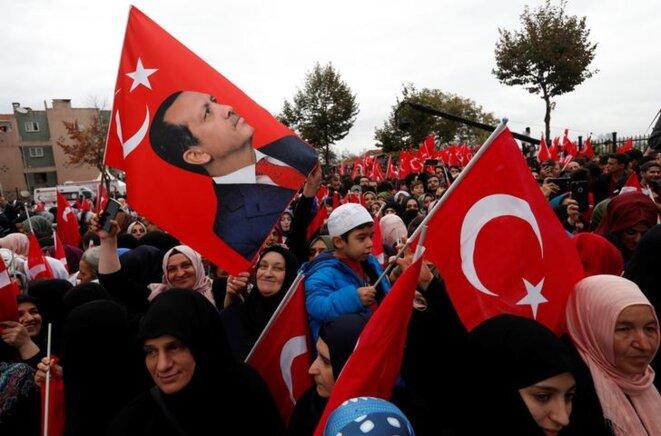"""Inauguration à Istanbul d'une l'école """"imam-hatip"""" baptisée Ecole Erdogan, en présence turc lui-même, le 29 septembre 2017. © Reuters"""
