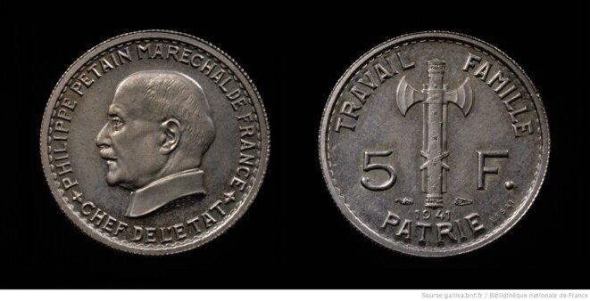 Essai monétaire de 5 francs. 1941. Source: www.gallica.bnf.fr