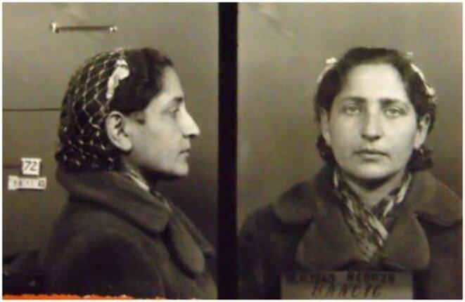 Olga Bancic, dite Pierrette (1912, Kichinev (Roumanie) - 1944, Stuttgart (Allemagne)). Résistante FTP-MOI membre du groupe Manouchian, la seule femme du procès de l'Affiche rouge. Sous le pseudonyme de Pierrette, elle assurait le transport des armes et des munitions lors des actions. Elle fut par la suite chargée du dépôt des armements. Source: http://maitron-fusilles-40-44.univ-paris1.fr/spip.php?article15575 © Le Maîtron. Dictionnaire biographique des fusillés, guillotinés, exécutés, massacrés 1940-1944