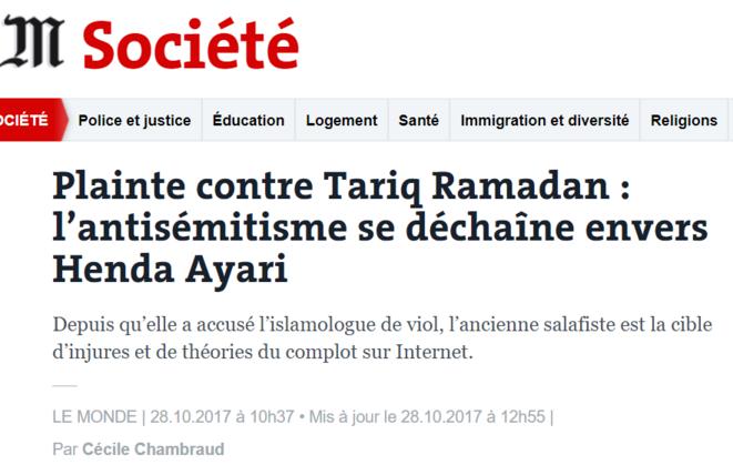 Vers une 3e plainte contre Tariq Ramadan — Harcèlement sexuel