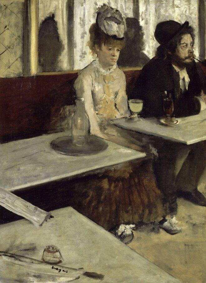 """Edgar Degas, """"Dans un café ou L'Absinthe"""", 1875-76. Paris, Musée d'Orsay. Source: Wikimedia Commons."""