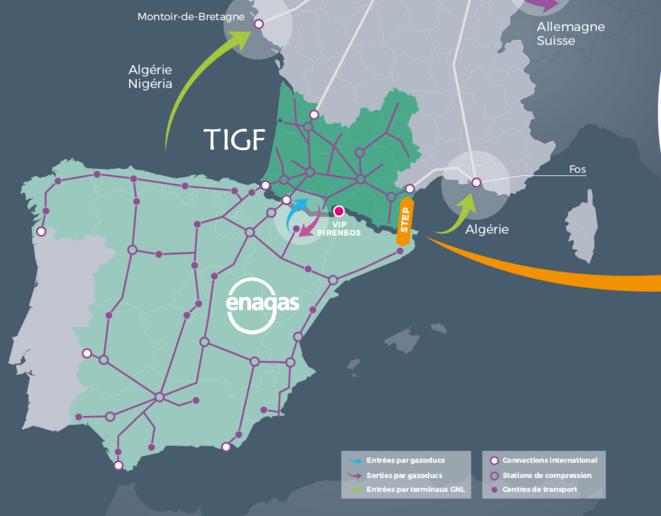 Carte des réseaux Sud France et Espagne (Illustration TIGF).