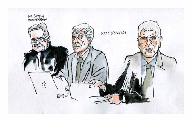 Croquis  fait lors du proces AZF 2012 © Samson