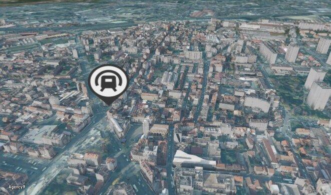 Mairie d'Aubervilliers, vue du plan interactif proposé par le site web du Grand Paris Express. © DR