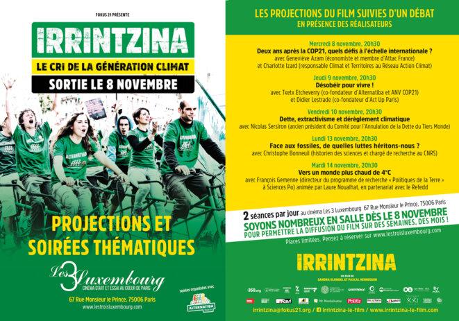 Programme des projections-débats autour du film Irrintzina au Trois Luxembourg
