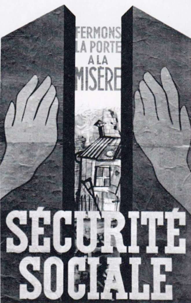 Affiche de la Sécurité sociale en 1945. Source: http://communication-securite-sociale.fr/securite-sociale-70ans/affiches-illustrations/