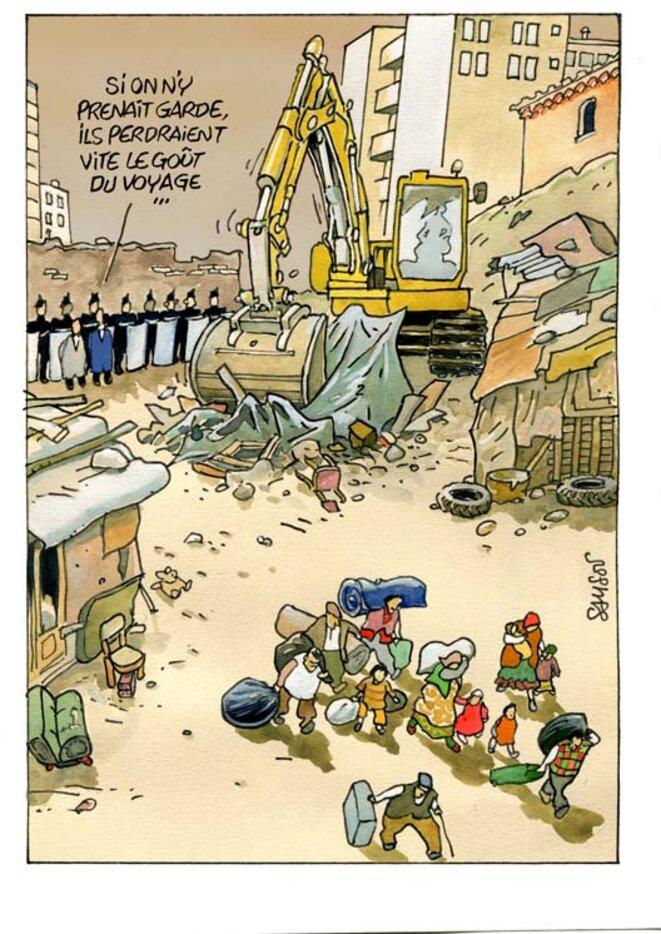 Un bidonville nettoyé à Marseille © Samson