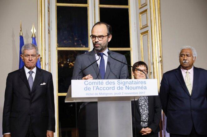 Comité des signataires de l'accord de Nouméa, le 2 novembre, à Matignon. © Twitter/@EPhilippePM