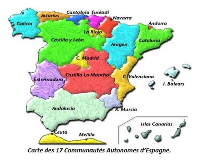 Les 17 communautés autonomes d'Espagne