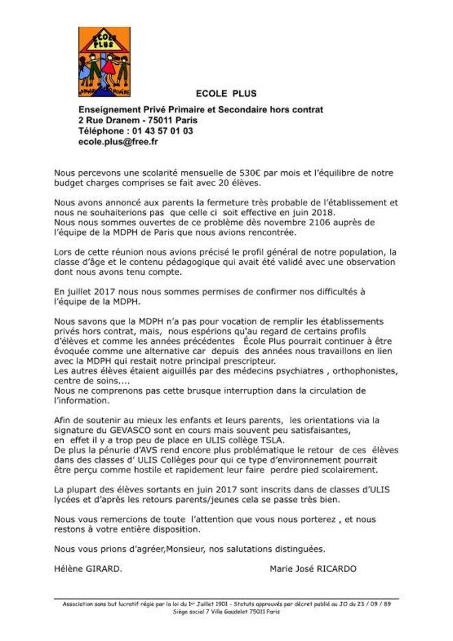 Lettre ouverte MDPH Paris © Hélène Girard et Marie José Ricardo