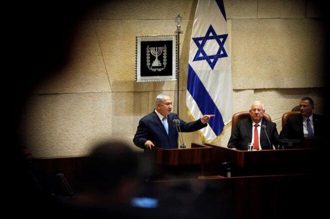 Benjamin Netanyahou lors de l'ouverture de la session hivernale de la Knesset, le 23 octobre 2017. © Reuters