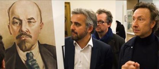 Stéphane Bern reçu par Alexis Corbière au Musée de Montreuil, le 13 novembre 2017