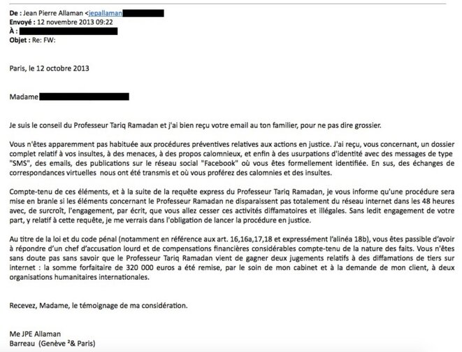 Mail reçu par Sara, signé Jean-Pierre Allaman. © Document Mediapart