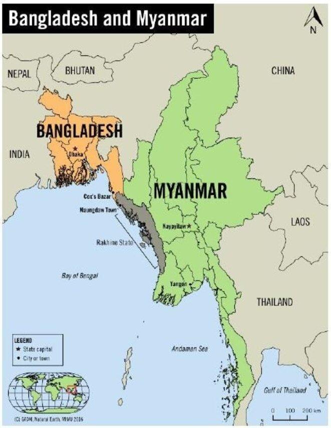 En gris, l'Arakan (appelé aussi Rakhine), Etat de l'ouest du Myanmar (nom actuel de la Birmanie) © DR