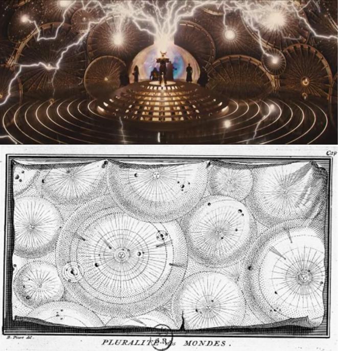 Thor, c Studios Marvel, 2011, photogramme et gravure pour les Œuvres diverses de Fontenelle (1729)