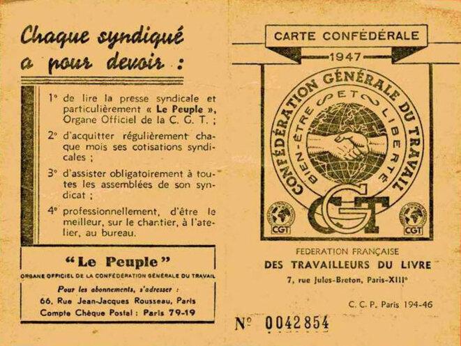 Carte d'adhésion à la CGT en 1947
